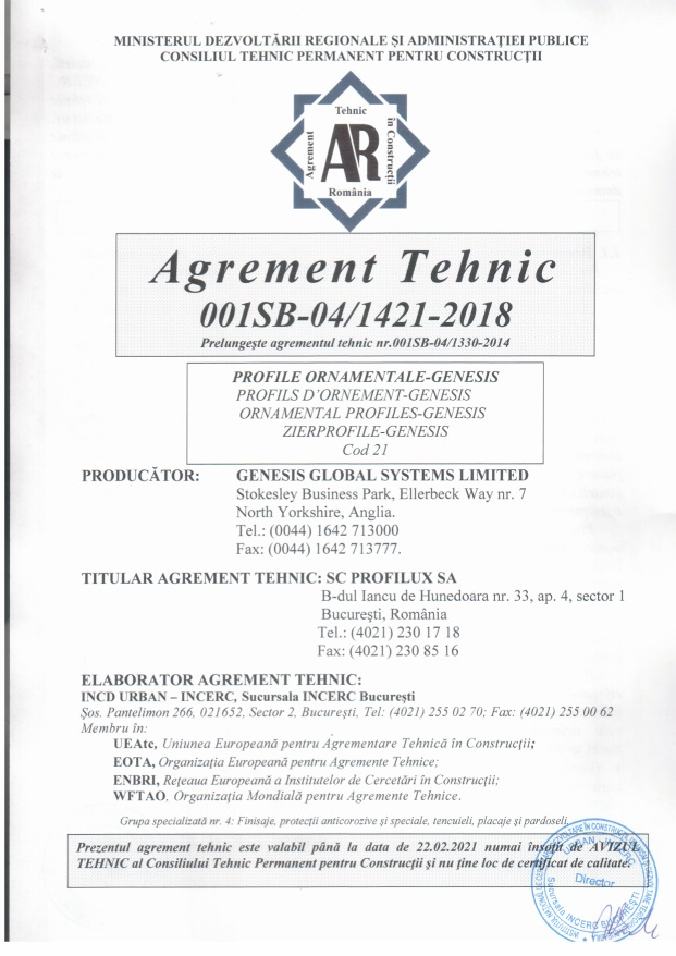 Agrement tehnic Genesis