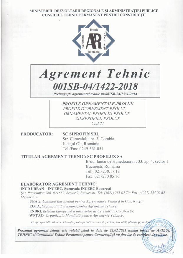 Agrement tehnic Prolux